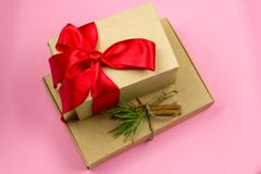 Festive gift boxes stock images