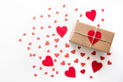 Top view of gift box with red hearts decorations. On Valentines day isolated on white Royalty Free Stock Image