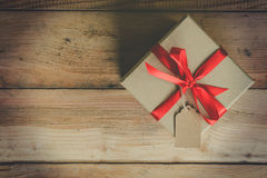 Top view gift box on wood table background with space. stock photos