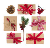 Top view of gift boxes and decoration isolated on white Stock Photo