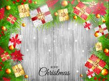 Top view of gift boxes, flowers and green grass on white wooden. Texture background Christmas Festival celebration poster or banner design stock illustration