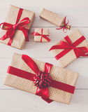 Top view of Gift boxes on white wood Stock Photo