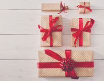 Top view of Gift boxes on white wood Royalty Free Stock Photography