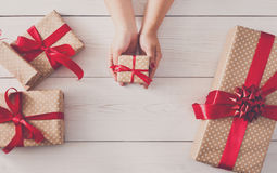 Top view of Gift boxes on white wood Stock Photos