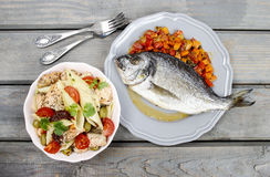 Top view of gilt-head bream fish Stock Photos