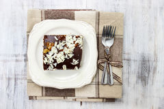 Top view of gingerbread cake with chocolate and hazelnuts Royalty Free Stock Photography