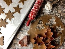 Gingerbread cookie cutouts. Top view of gingerbread cookie preparations stock photography