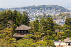 Top view ginkakuji temple in japan. Top view of ancient ginkakuji temple and city view in  japan Stock Images