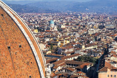 Top view  from Giottos bell tower over old Florence Stock Photos