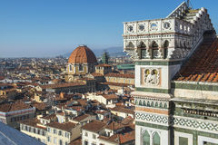 Top view from Giottos bell tower over old Florence Stock Photography