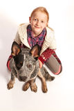 Top view of a girl with dog. Top view of a young girl with dog stock image