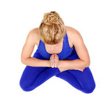 Top view of a girl practicing yoga Stock Image