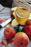 Top view of Glass of Apple Juice Royalty Free Stock Images