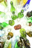 Top view of glass bottles on white stock images