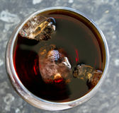 Top view of glass of cola with ice Royalty Free Stock Photography
