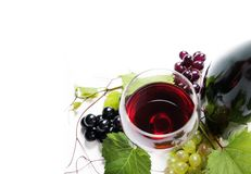 Top view of glass of red wine and bottle with grape vine isolate royalty free stock photos