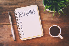 Top view 2017 goals list with notebook, cup of coffee Royalty Free Stock Images