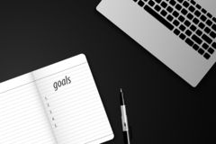 Top view goals list with notebook and laptops. vector illustration stock illustration