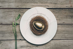 Top view of golden Easter egg in nest on white plate on wooden table, Royalty Free Stock Photography