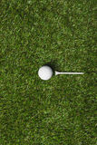 Top view of golf ball and tee Royalty Free Stock Photo