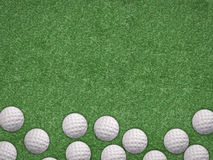 Top view golf balls on green background. With blank space Stock Images