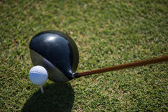 Top view of golf club and ball in grass Stock Photos