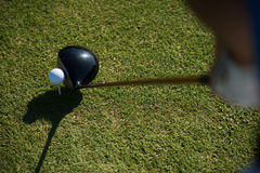 Top view of golf club and ball in grass Stock Photography