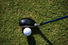 Top view of golf club and ball in grass Stock Photo