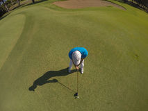 Top view of golf player hitting shot Royalty Free Stock Photos