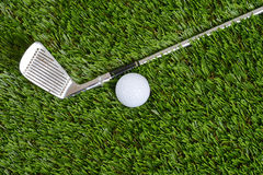 Top view golf wedge club and ball Stock Photos