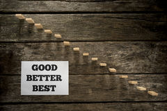 Top view of Good Better Best message written on white paper card Royalty Free Stock Photography