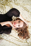 Top view of gorgeous woman with beautiful curly long hair Royalty Free Stock Photo
