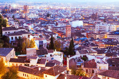 Top view of  Granada in evening Stock Photos