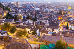 Top view of  Granada in twilight Stock Photography