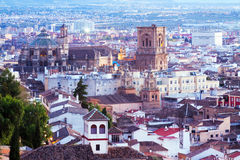 Top view of  Granada in twilight Royalty Free Stock Images