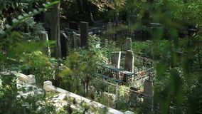 Top view of graveyard with crosses and headstones stock video footage