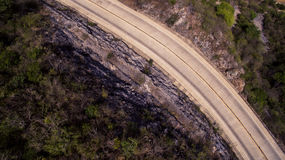 Top View of Gray Asphalt Road Stock Images