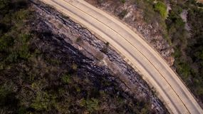 Top View of Gray Asphalt Road Royalty Free Stock Photo