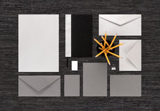 Top view of gray and silver color branding business mock-up on b stock photos