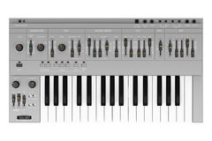 Top view of gray synthesizer isolated on white Stock Photos