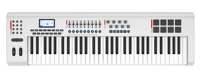 Top view of gray synthesizer isolated on white Royalty Free Stock Photo