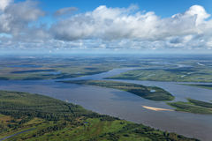 Top view of great river Royalty Free Stock Photos