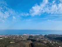 Top view of the greek city Rethymno, harbor and Aegean Sea in the summer. Crete, Greece royalty free stock images