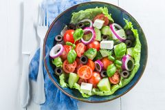 Top view of Greek salad made of fresh ingredients Stock Photo