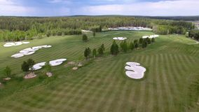 Top view green golf course outdoor green grass field. Aerial view from flying drone. stock video footage