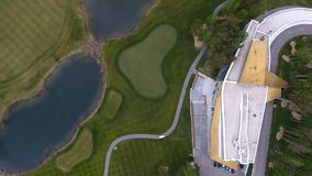 Top view green golf course outdoor green grass field. Aerial view from flying drone. Royalty Free Stock Photography