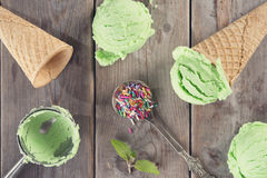 Top view green ice cream Royalty Free Stock Images