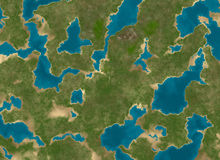 Top view of a green lush land and sea water royalty free illustration