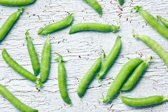 Top view of green pea pods Royalty Free Stock Photography