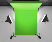 Top view greenscreen studio with lightbox and softbox. Film stud. Io with green backdrop. 3d rendering Stock Image